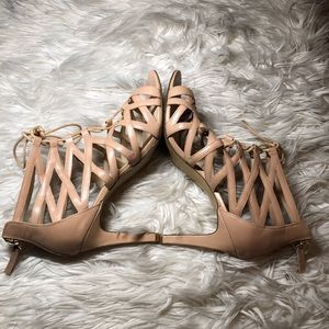 Nine West Nude Caged Lace Up Heels